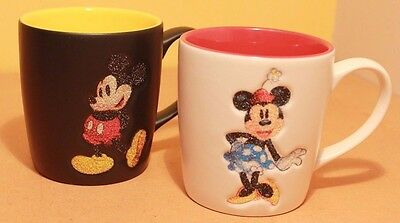 2 x Official Exclusive Mickey & Minnie Mouse Disney Land Resort 3D Glitter Mugs
