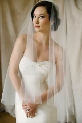 "1T 1 Tier Sheer Light Ivory Wedding Veil No Trin Fingertip 35 to 37"" Long W/Comb"