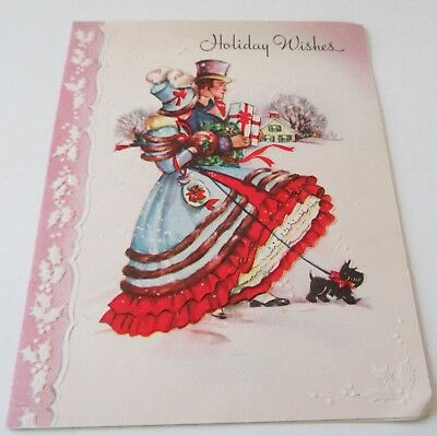 Used Vtg Christmas Card Old Fashioned Couple Scottie Dog Pile of Presents Muff