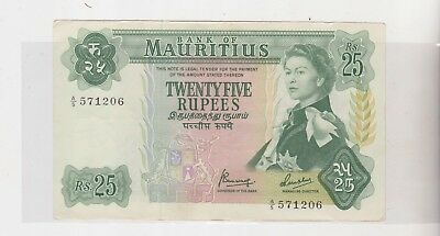 Mauritius 1967 (Nd) 1971 25 Rupee Banknote A/5 571206 Crisp Au Almost Perfect