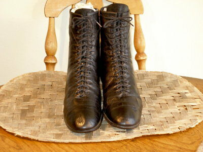 Antique Edwardian Period Black Leather Ankle Boots US 8 1/2