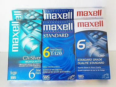 Video Cassette VHS VCR Tapes HQ Maxell 6hr lot of 6 Blank sealed