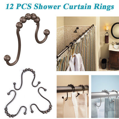 12 PCS Vintage Bathroom Shower Curtain Rings Hooks Double Glide Stainless Steel