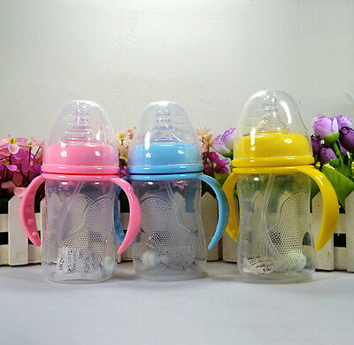3 Capacity Designs Baby Wide Neck Feeding Bottle With Straw&Handle Infant Bottle