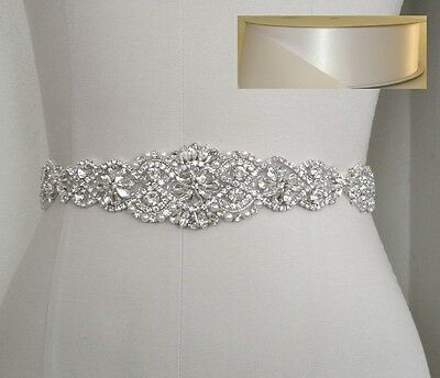 Wedding Bridal Sash Belt, Crystal Pearl Wedding Sash Belt = WHITE SATIN SASH
