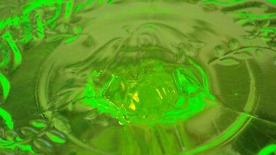 **RARE** Crown Crystal Australian citron URANIUM glass CHRISTMAS BELLS salver