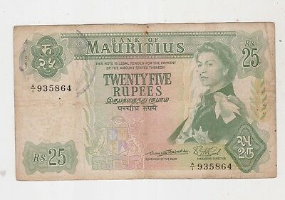 Mauritius 1967 (Nd) 25 Rupees Banknote A/1 Prefix Signature 1 Rare One Year Only