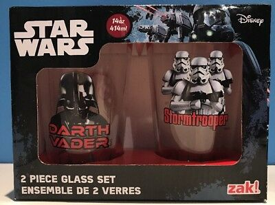 Star Wars 2 Piece 14 oz Glass Tumbler Set Darth Vader Storm Trooper Zak Disney