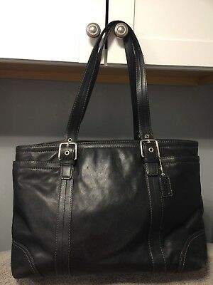 coach F11203 Black Leather Diaper Bag Carry all tote