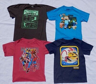 Lot of 4 Boys Large Shirts: Marvel, Minecraft, Star Wars Angry Birds, Zombies