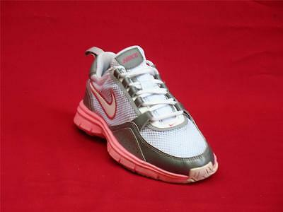 Girls Pink, Silver & White  Nike Athletic, Fabric and Laces Sneakers Size 6-Y