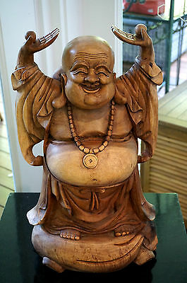 Beautiful Large Wooden Happy Buddha From Single Log