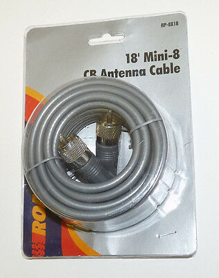 RoadPro 18-Foot Mini-8 CB Antenna Cable Gray PL259 NEW RP-8X18