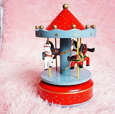 Chinese Wooden & Plastic cement Handmade Carousel model music box A81620