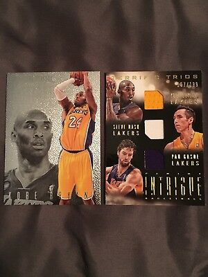 2013-14 Intrigue Terrific Trios Kobe Bryant/Nash/Gasol /199 + Bonus Kobe Card
