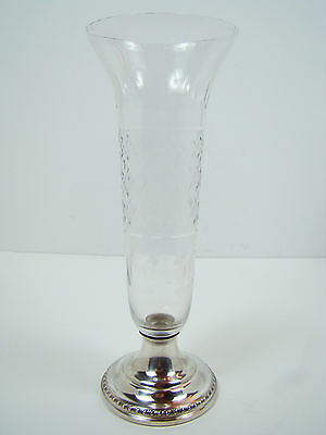 Cambridge Etched Glass Vase Sterling Silver Base Weighed 627 Compote