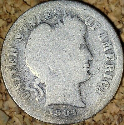 1904-S Barber Dime - SOLID GOOD, LOW MINTAGE 800K KEY COIN  (G957)