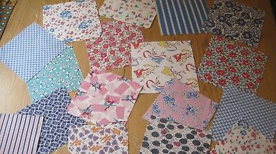 Lot of 17 Large Vintage Feedsack and Vintage Fabric for Quilts 8 and 9 Inches