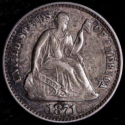 XF 1871 Seated Liberty Half Dime R9AET