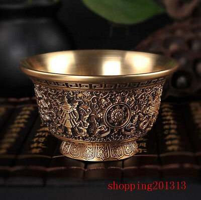Tibet Buddhism Offering Water Bowl cup Copper Eight Auspicious Symbols 8.8cm