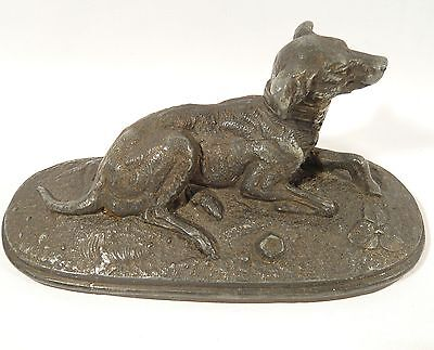 Antique CAST IRON DOG Lead filled PAPERWEIGHT Art Deco GREYHOUND DOORSTOP 6 7/8""