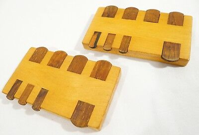 2 Antique / Vintage WHIST MARKERS COUNTERS Cards Games Wooden