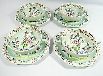4 ADAMS Old Bow CALYX Ware Cream Soup Bowls with under plate / Saucer