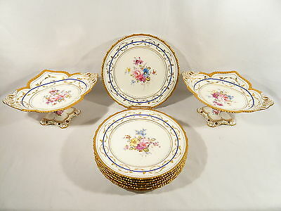 10 pce Antique Royal Crown Derby China DESSERT SET 2 COMPOTES & 7 Plates 7700 x