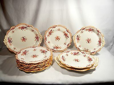 Antique 12 pce  RIDGWAY China GROSVENOR pattern 9179 DESSERT SET RUST c. 1830-37