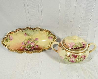 2 pieces Antique Royal Vienna China LUCKY CLOVER Oval DISH & Handled SUGAR BOWL