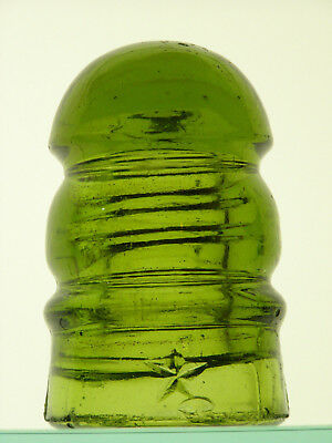 Beautiful CD 112 [10] {embossed Star}, chartreuse color glass insulator