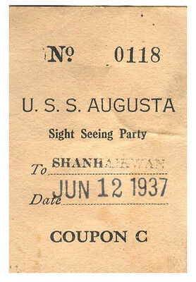 USS Augusta CA-31 Sight Seeing Party To Shanhaikwan Coupon C, China 1937