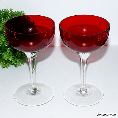 2 x Vintage  Bohemia Crystal Ruby Red Champagne Glasses
