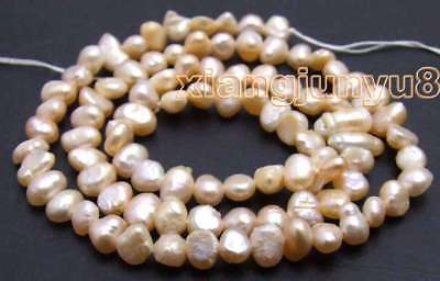 """SALE small 5-6mm Natural Pink Freshwater BAROQUE Pearl Loose Beads 14""""-los466"""