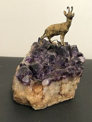 Bronze Goat On Amethyst