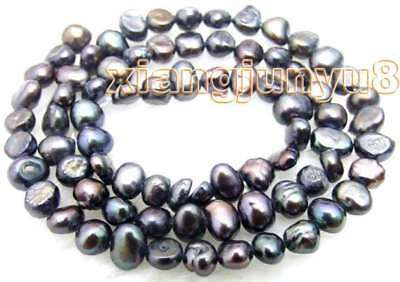 """SALE small 4-5mm Natural Black Freshwater BAROQUE Pearl Loose Beads 14""""-los456"""