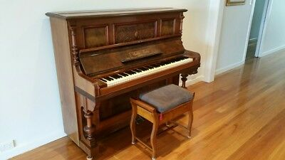 Upright Gustav Fiedler Piano and Stool