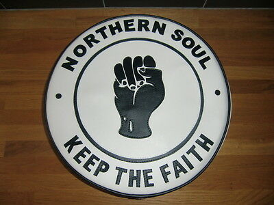 White and Black Northern Soul Fist Scooter Wheel Cover