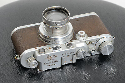 Vintage 1936 Ernst Leitz LEICA IIIa camera with flash baseplate and Summar lens.