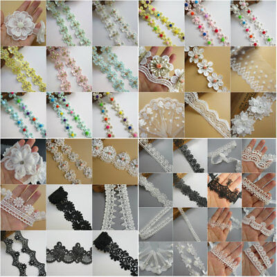 1 yd Vintage Embroidered Lace Edge Trim Ribbon Wedding Applique DIY Sewing Craft