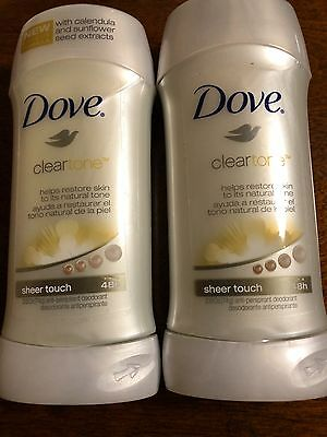 2 Dove ClearTone Moisture Deodorant VERY RARE calendula sunflower sheer touch 48