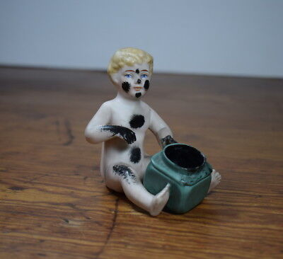 Novelty / Vintage Bisque / Porcelain Ink Well / Piano Baby / 8.5 Cm Tall