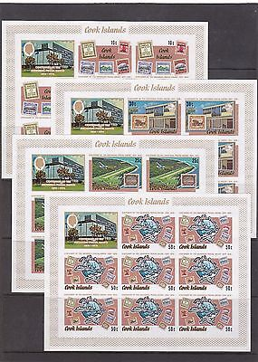 COOK 1974 UPU Centenary set of 4 IMPERF Uncut Sheetlets Kleinbogen Superb MNH.