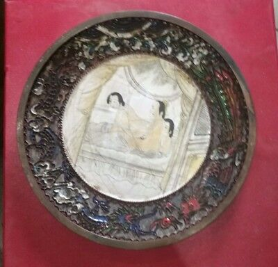 Antique Chinese Sex culture chungong Brass Cloisonne Enameled Plate two