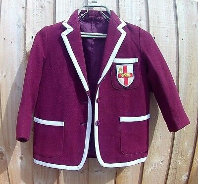 Childs Maroon Wool Boating Style School Blazer With Badge. Chest 32'' Made In Uk