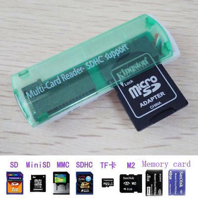 Mini Size 4 in 1 Card Reader USB 2.0 Micro SD/TF Memory Card Reader - Green