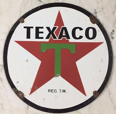 "Vintage 1938 Single Sided Texaco t Porcelain Enamel Sign 18"" Single SIded"