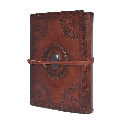 stone  Leather Handmade Journals brown colar Leaf with Brass