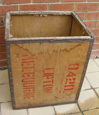 Tea Chest, Lipton, old wooden storage box, Indonesia, collectable