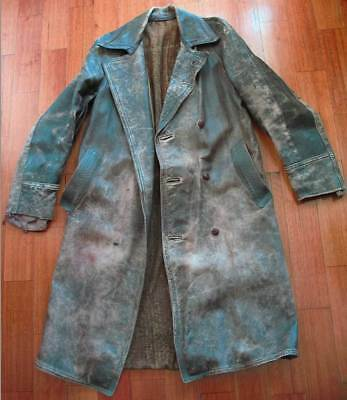 Vintage Long Leather Coat, 1940s-50s Jacket, shabby condition